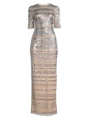 Aidan Mattox Sequin Stripe Column Gown