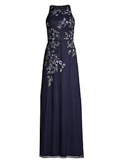 c11df923 Aidan Mattox. Embroidered Floral Column Gown