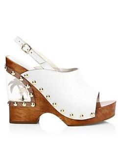 5cb6543a4036 Sophia Webster. Studded Leather Clog Wedge Sandals