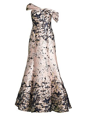 Image of Acting as a canvas with its paint splattered jacquard design, this gown descends into a regal godet skirt that makes it a show stopping piece. Asymmetric sweetheart One cap sleeve One short off-the-shoulder sleeve Concealed back zip Fully lined Polyester