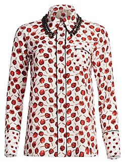 c6efb672365250 Embellished Collar Print Silk Shirt STAMPA FONDO BIANCO. QUICK VIEW.  Product image. QUICK VIEW