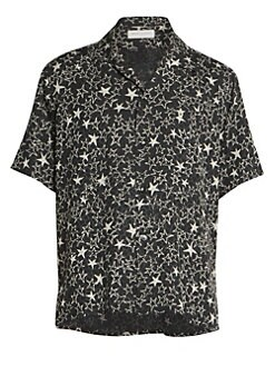 108ec5c6777 QUICK VIEW. Saint Laurent. Metallic Star Print Silk Shirt