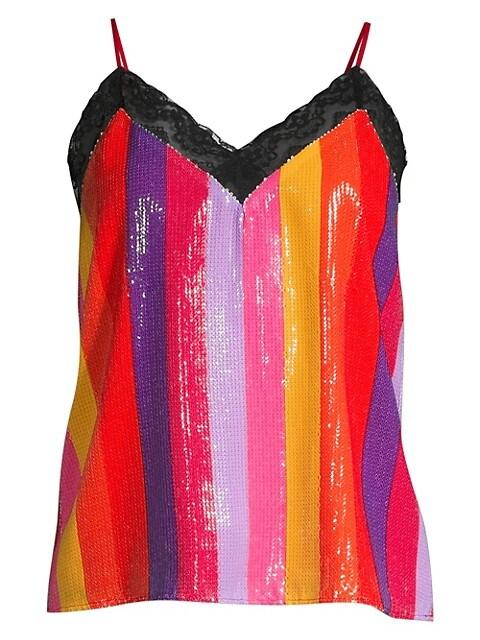 Rainbow Stripe Sequin Top
