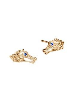 7f50d2354a1 John Hardy. Legends Naga 18K Yellow Gold   Sapphire Dragon Head Stud  Earrings