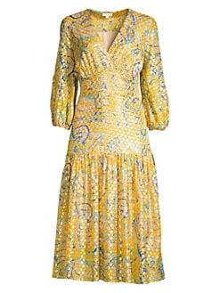 1135208ba1 Shoshanna. Aceline Metallic Silk Midi Dress