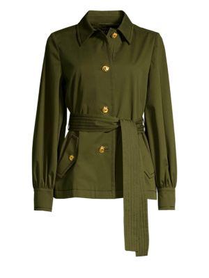 Escada Jackets Bibina Brushed Cotton Belted Jacket