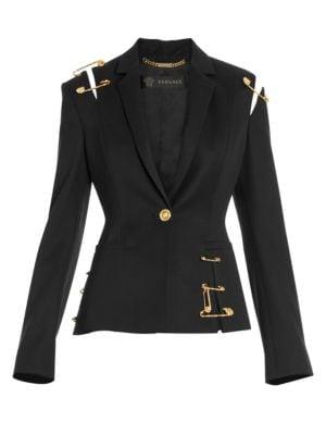 10ad481812 Safety Pin Cutout Wool Jacket