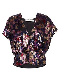 a42b9c46f5200 IRO. Eskie Sequin Wrap Top