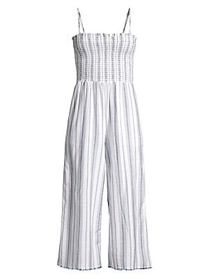 """Image of A smocked bodice is a sweet addition to this striped jumpsuit with a cropped leg. Straightneck Adjustable spaghetti straps Pull-on style Smocked bodice Rayon/cotton Machine wash Made in USA SIZE & FIT Wide-leg, cropped silhouette About 49"""" from shoulder t"""