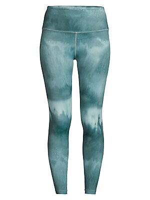 "Image of A watercolor-like finish lends artful appeal to these high-waisted leggings. Banded waist Pull-on style Polyester/spandex Hand wash Made in USA SIZE & FIT Rise, about 10.5"" Inseam, about 25"" Leg opening, about 7.5"" Model shown is 5'10"" (177cm) wearing US"