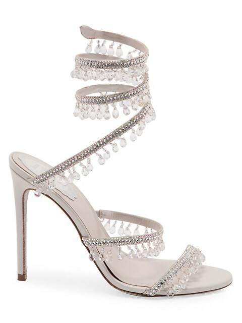 Cleo Chandelier Ankle-Wrap Crystal-Embellished Satin Sandals