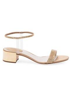 f3433b7dd35 Crystal Embellished Block Heel Sandals GOLD. QUICK VIEW. Product image.  QUICK VIEW. Rene Caovilla