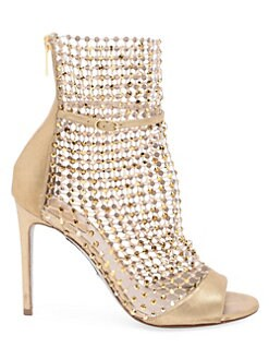 9120511f6 Rene Caovilla. Galaxia Embellished Leather Sock Peep-Toe Sandals