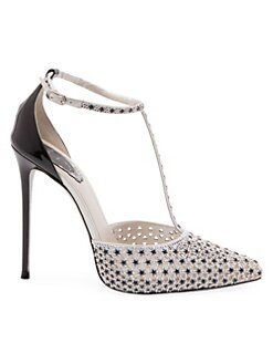 adac9d423 Rene Caovilla. Crystal Star Satin T-Strap Stiletto Pumps