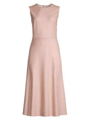 Max Mara Dresses Ural Camel Wool & Silk Midi Dress