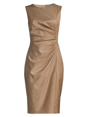 Max Mara Dresses Pino Pinstripe Ruched Virgin Wool Dress