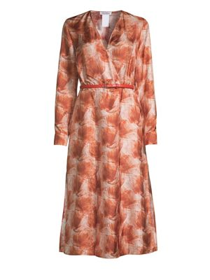 Max Mara Cenere Abstract Floral Silk Belted Wrap Dress