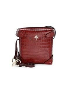 91eb21e4bebc82 Manu Atelier. Pristine Croco-Print Leather Shoulder Bag