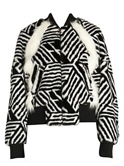297b1800717e Off-White. Faux-Fur Zebra Monogram Bomber Jacket