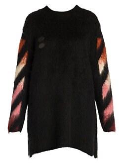 a2212d6b569 Off-White. Diagonal Intarsia Mohair   Wool Sweater