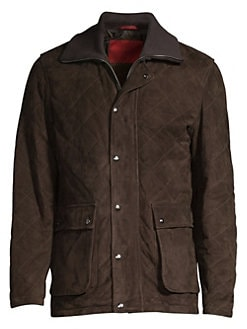 0d6dd5a3 QUICK VIEW. Isaia. Diamond Quilted Utility Pocket Suede Jacket
