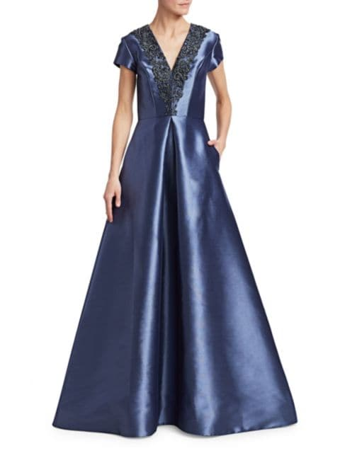 Theia Beaded V-Neck Short-Sleeve Gown   SaksFifthAvenue