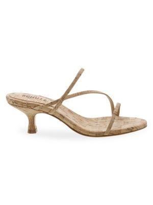 Schutz Evenise Cork Kitten Heel Sandals