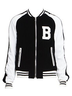 ab15151bb2b Product image. QUICK VIEW. Balmain. Colorblock Velvet Bomber Jacket