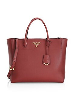 2bbb95d0e91d QUICK VIEW. Prada. Vitello Daino Striped Strap Leather Tote Bag