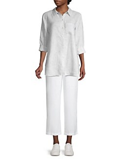 584fa16df3 Mini Striped Organic Linen Shirt PEARL · Product image. Eileen Fisher
