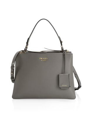 Prada Large Deux Leather Top Handle Tote In Marmo Grey