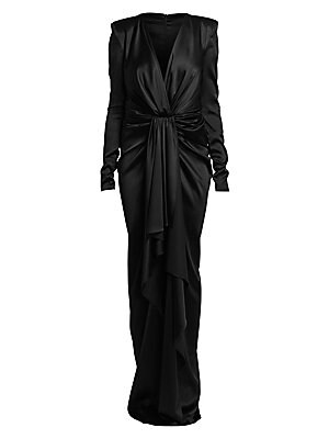 Image of Descending into liquid satin, this ruched waist gown is an amalgamation of luscious textures. Flaunting a side slit and a plunging neckline, this piece is the epitome of provocative. Deep V-neck Long sleeves Concealed back zip Ruched self-tie waist front