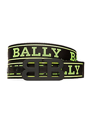 "Image of A bold B buckle secures a sporty logo belt that flips to a sleek leather look. Reverses to leather Black-painted metal buckle Textile/leather Made in Italy SIZE Width, about 4"". Men Accessories - Belts > Saks Fifth Avenue. Bally. Color: Black Yellow. Size"