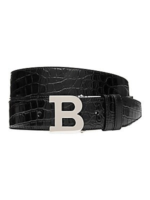 "Image of A bold B buckle secures a snake-embossed belt that flips to a sleek leather look. Reverses to leather Palladium buckle Leather Made in Italy SIZE Width, about 4"". Men Accessories - Belts > Saks Fifth Avenue. Bally. Color: Black. Size: 48 (32)."