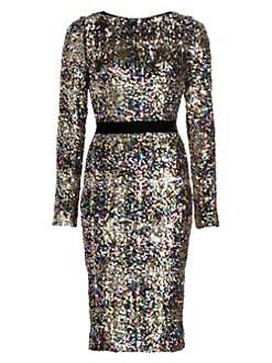 d31454d5f8a Talbot Runhof. Patina Sequin Long-Sleeve Sheath Dress