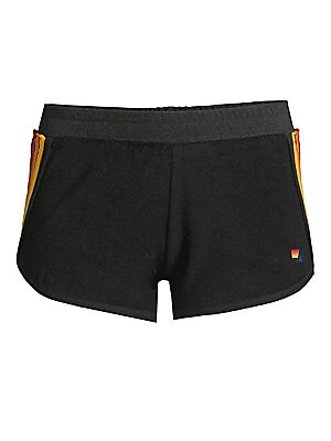 """Image of Athletic-cut shorts with rainbow side stripes exude a retro vibe. Banded elasticized waist Pull-on style Back patch pocket Exposed stitch patch back Cotton/polyester/rayon Machine wash Made in USA SIZE & FIT Rise, about 9"""" Inseam, about 2"""" Leg opening, ab"""