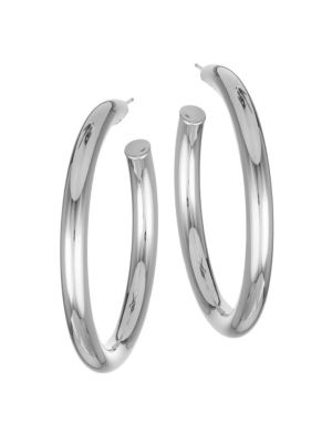 Jennifer Zeuner Jewelry Medium Lou Sterling Silver Hoops