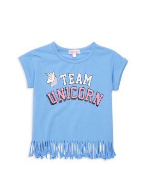 Design History Little Girl S Team Unicorn Fringe Tee