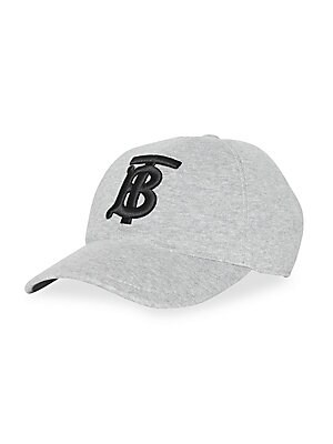 Image of A baseball cap in cotton jersey, highlighted with a Monogram motif at the front and check under the peak. Curved brim Three-buttoned snap back Cotton Made in Italy. Men Accessories - Fashion Accessories > Saks Fifth Avenue. Burberry. Color: Light Grey. Si