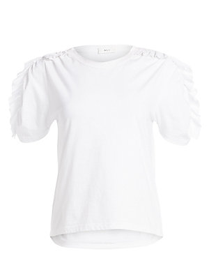 """Image of Playfully romantic tee with ruffles that flourish down the puff sleeves. Crewneck Short sleeves Pullover style Cotton Machine wash Made in USA SIZE & FIT Easy fit About 22.5"""" from shoulder to hem Model shown is 5'10"""" (177cm) wearing US size Small. Contemp"""