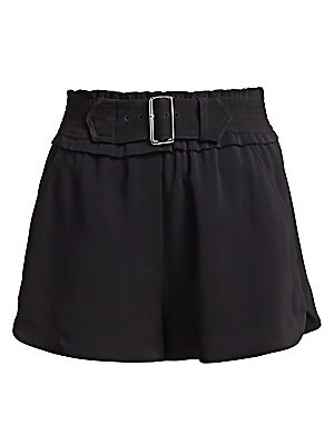 """Image of Breezy shorts elevated with attached pin buckle at the waist. Shirred waistband Front slash pockets Back patch pocket Viscose/elastane Dry clean Imported SIZE & FIT Relaxed fit Rise, about 14.5"""" Inseam, about 2.5"""" Leg opening, about 14.5"""" Model shown is 5"""