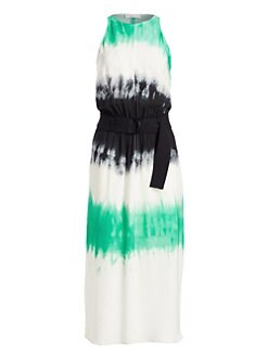 e35341faf40 Tallulah Tie-Dye Silk Maxi Dress GREEN BLACK. QUICK VIEW. Product image