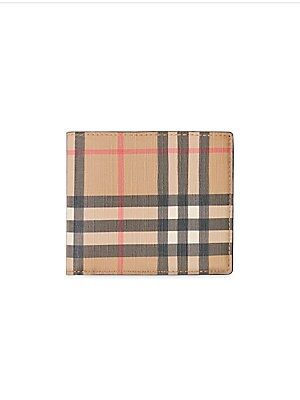 Image of A bi-fold wallet re-imagined in environmentally conscious e-canvas, primarily made using renewable resources that require less water and generate less CO2 than conventional coated canvases. The style features an archival vintage check and is sized to fit