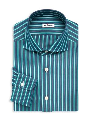 Kiton Contemporary Fit Stripe Dress Shirt
