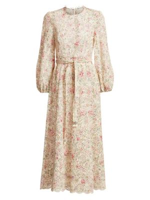 Zimmermann Honour Floral Highneck Cotton Dress