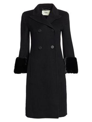 Fendi Mink Fur Cuff Double Breasted Cashmere Coat