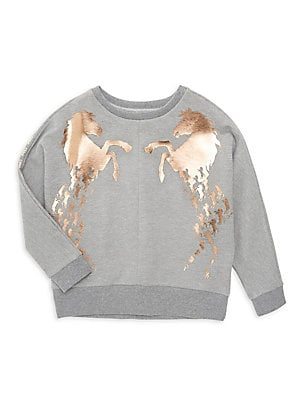 Image of A cascading horse print with a metallic finish enlivens this cozy sweatshirt. Crewneck Long sleeves Ribbed trim Cotton/modal/polyester/elastane Machine wash Imported. Children's Wear - Designer Children > Saks Fifth Avenue. Chloé. Color: Grey. Size: 10.
