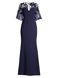 d1fc4df1a94a Aidan Mattox. Sequined Floral Crepe Gown