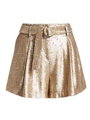 Jonathan Simkhai Shorts Distressed Sequin Pleated Shorts