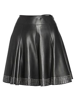 90215d11a0 Alaïa. Leather Studded A-Line Skirt
